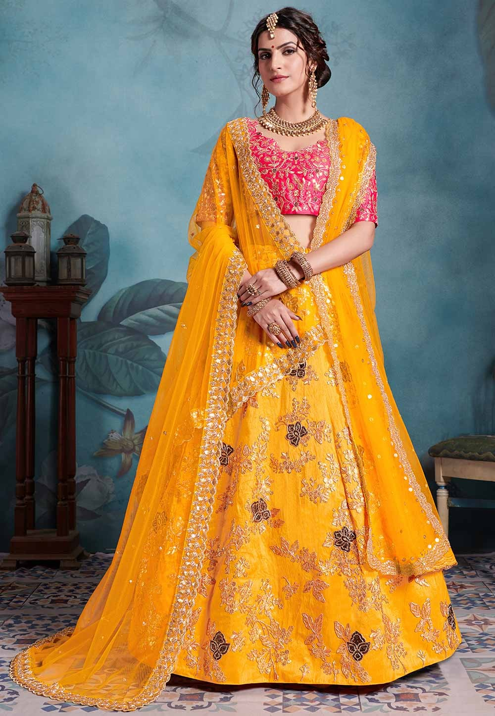 Yellow Colour Indian Designer Lehenga Choli.