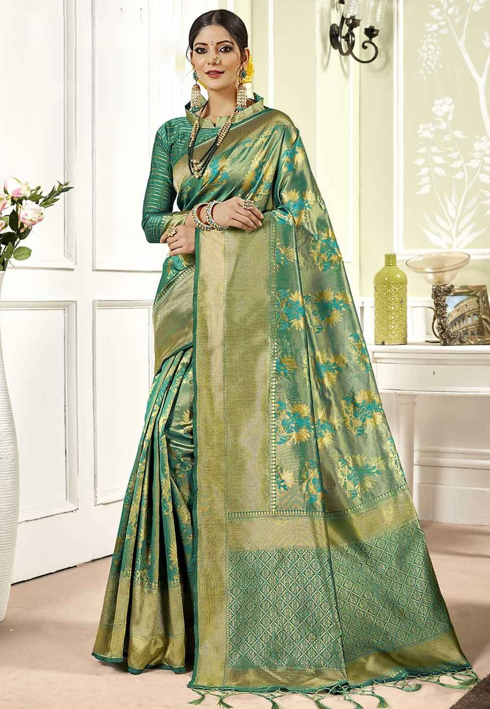 Banarasi Silk Saree in Green Colour.