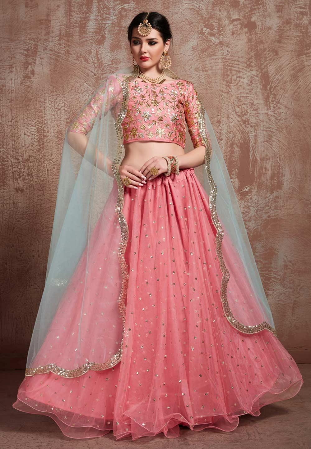 Pink Colour Party Wear Lehenga Choli.