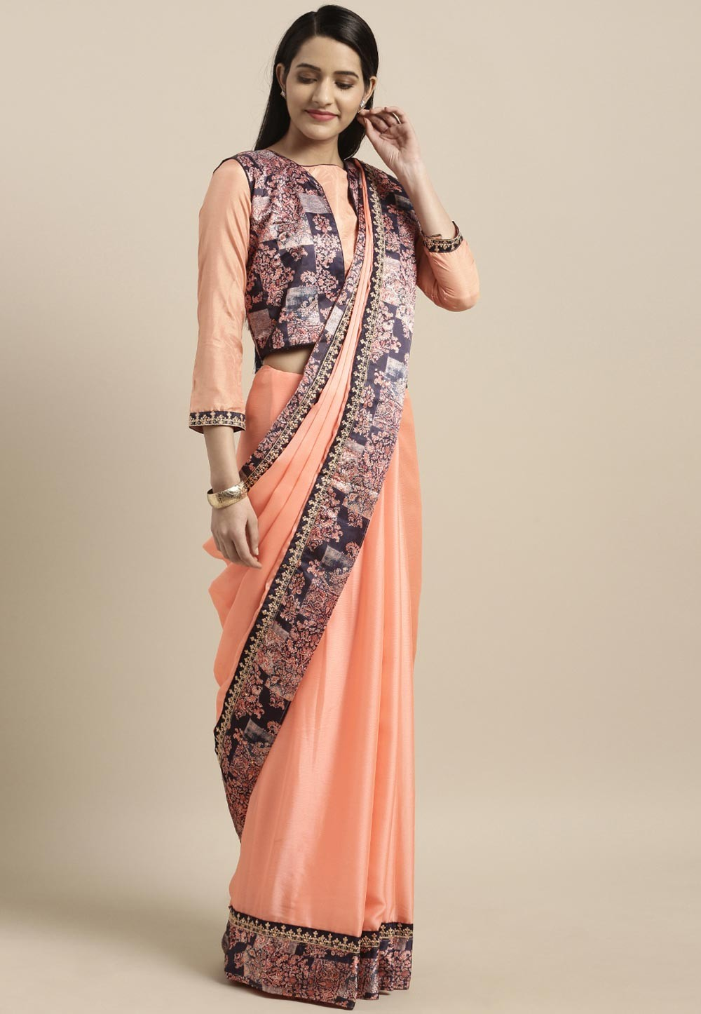 Beautiful Printed Peach Colour Saree.