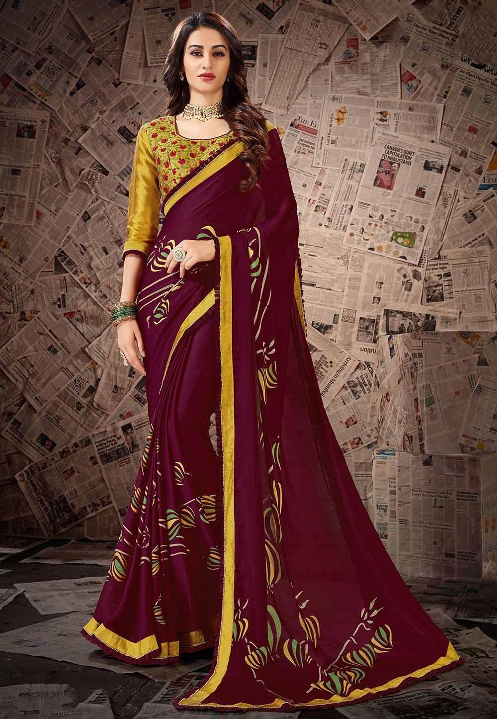 Wine Colour Designer Saree.