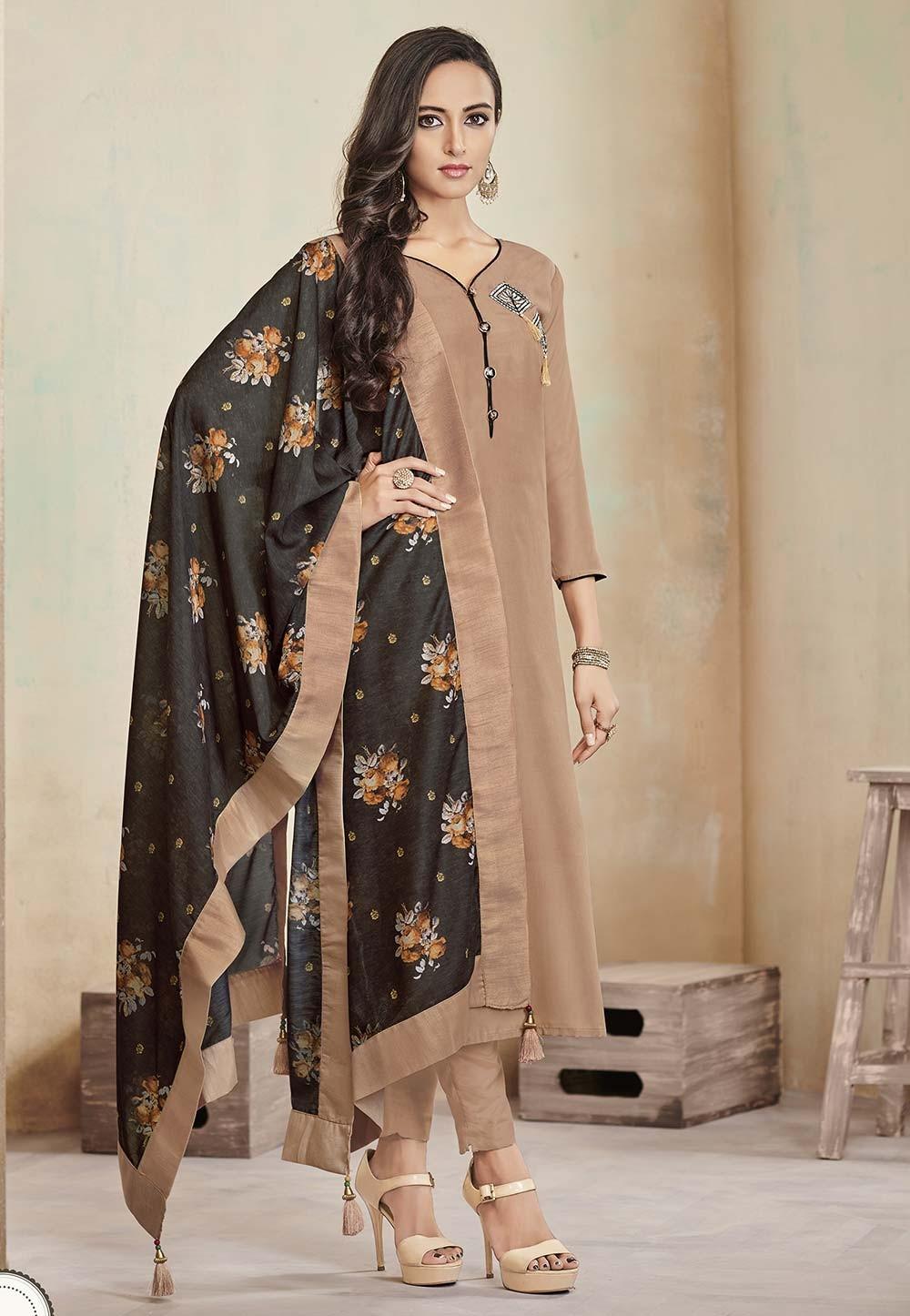 Beige Colour Casual Salwar Suit.