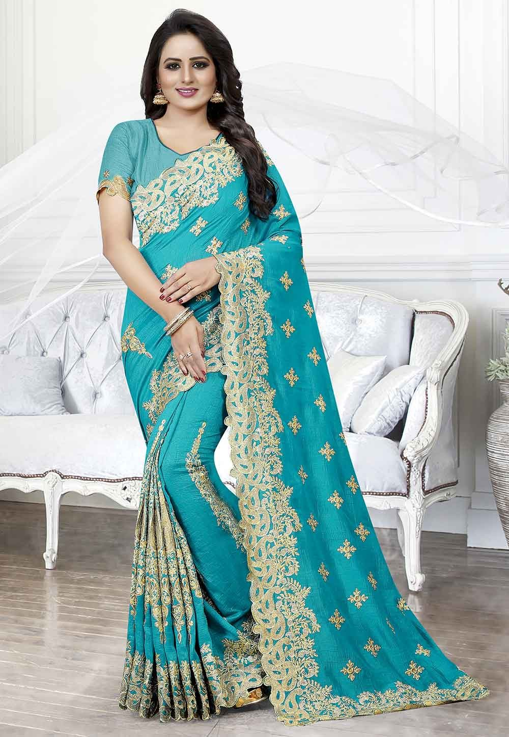 Art Silk Saree in Blue Colour.