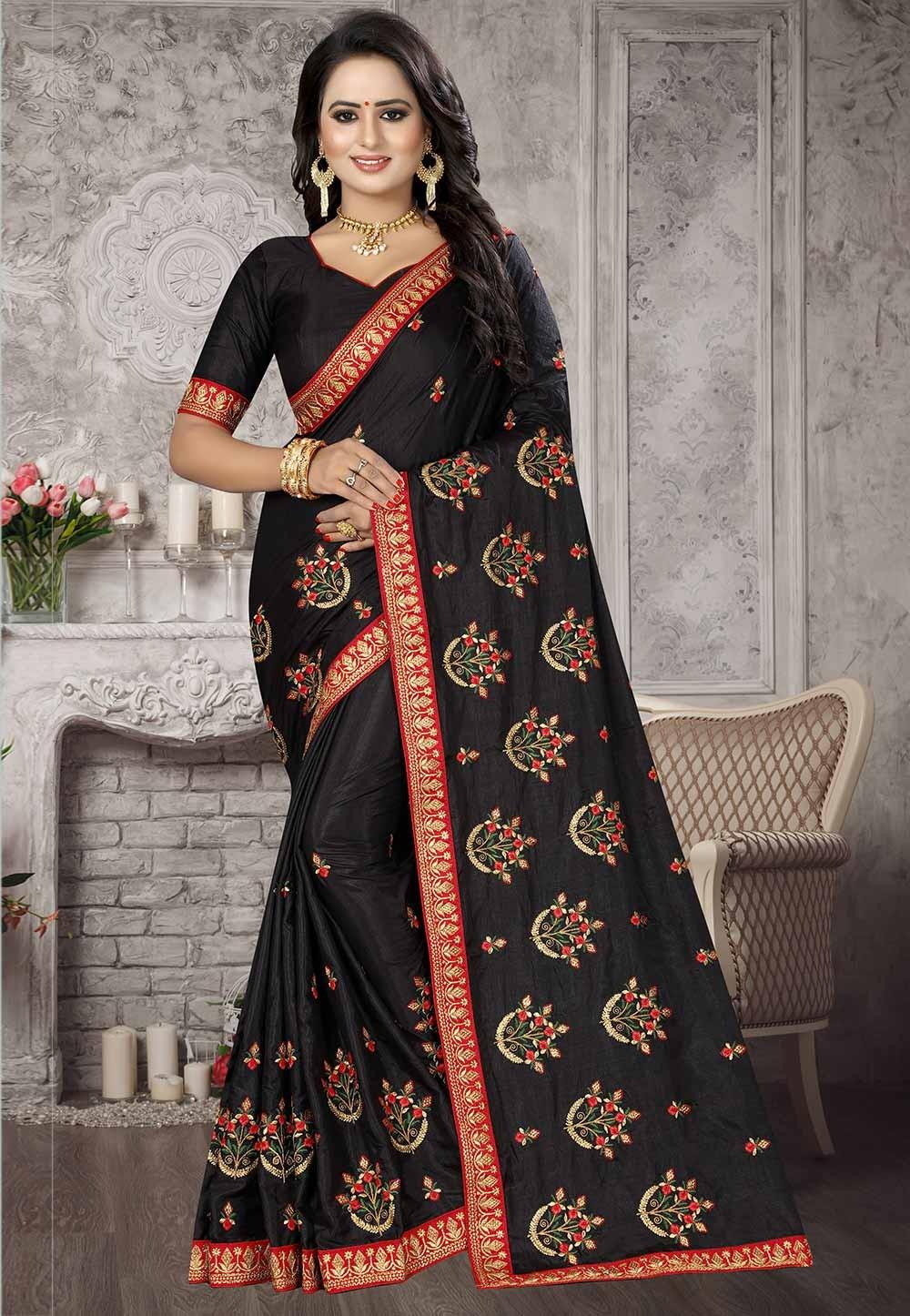 Black Colour Satin,Silk Saree.