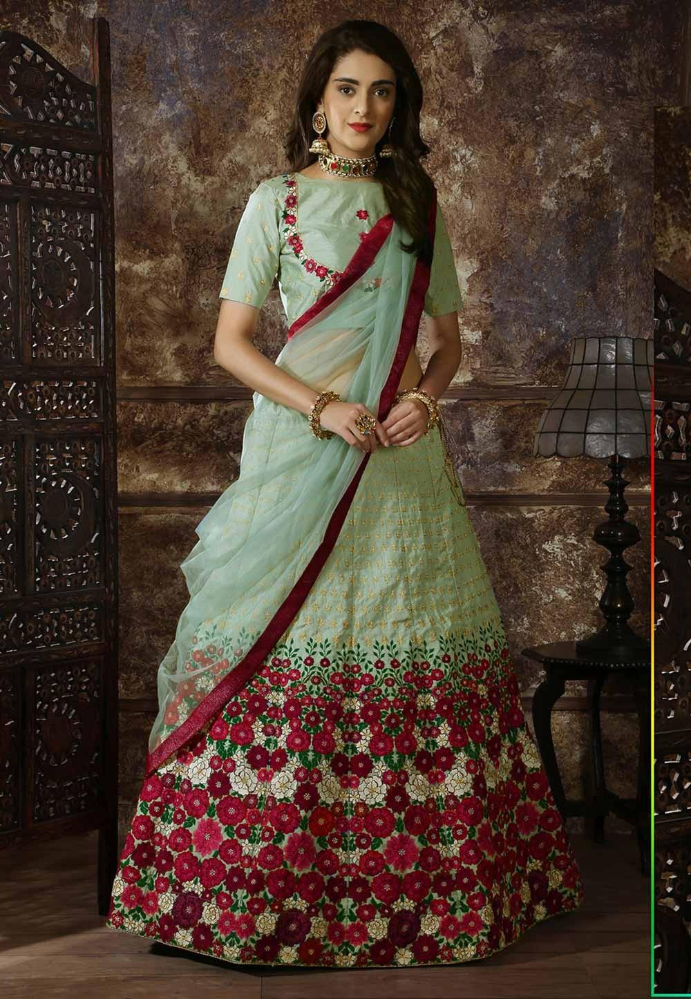 Green Colour Wedding Lehenga Choli.