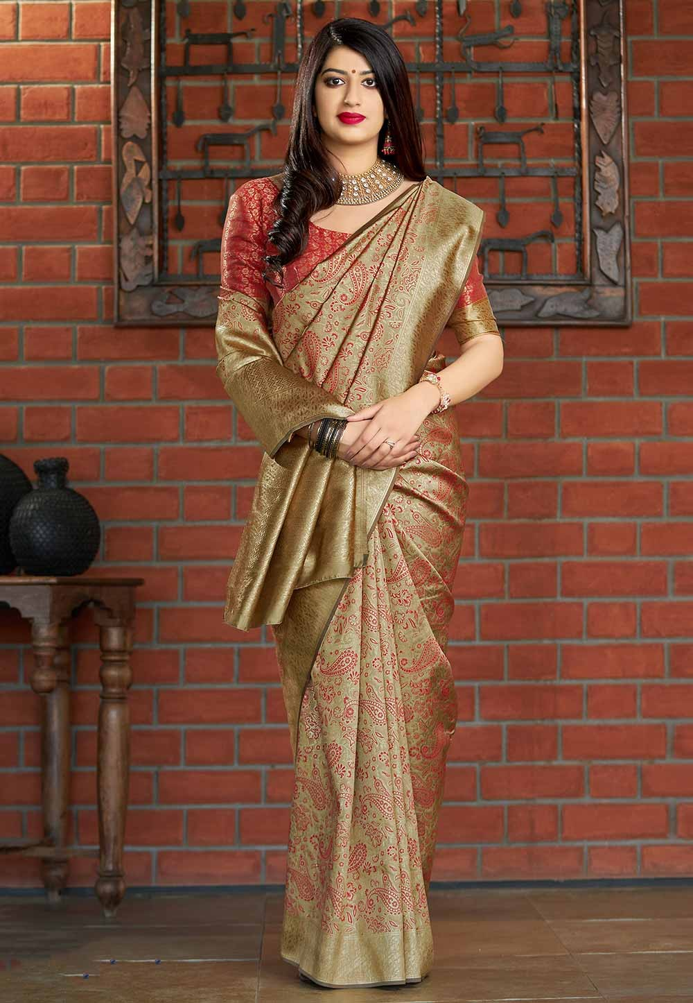 Beige Colour Weaving Saree.