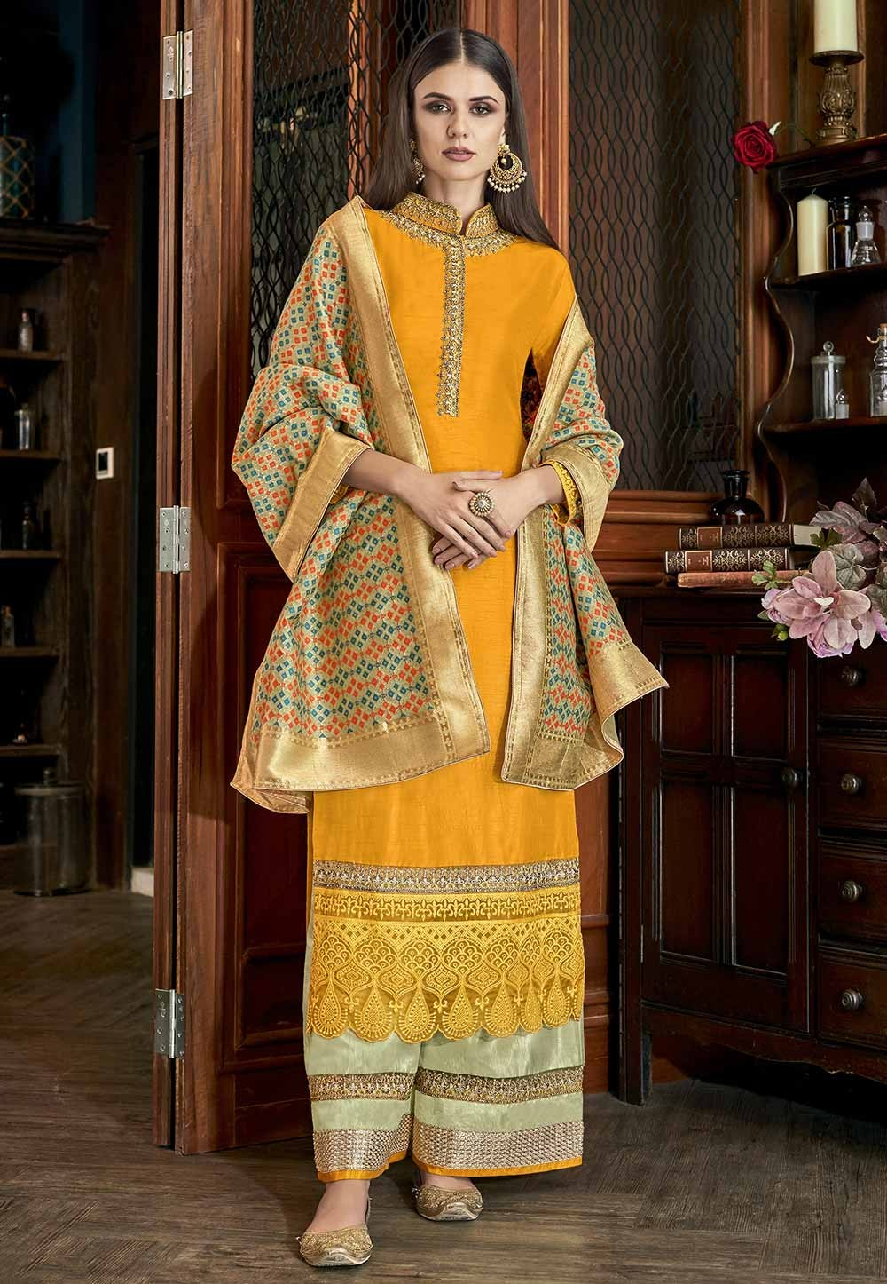 Yellow Colour Art Silk Salwar Suit.