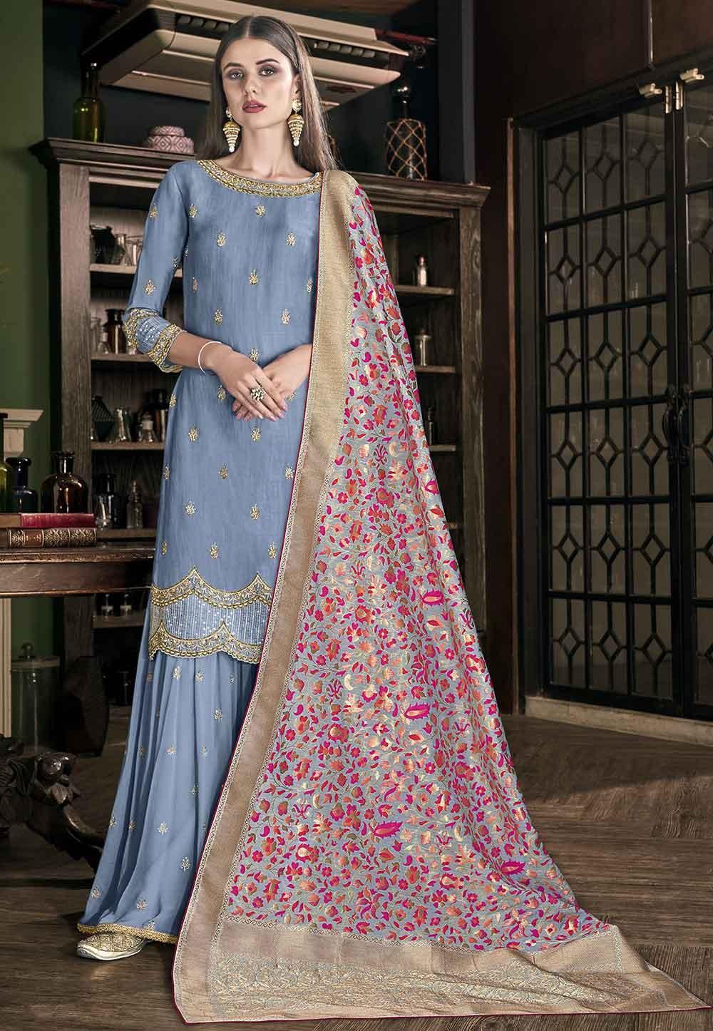 Blue Colour Palazzo Suit.