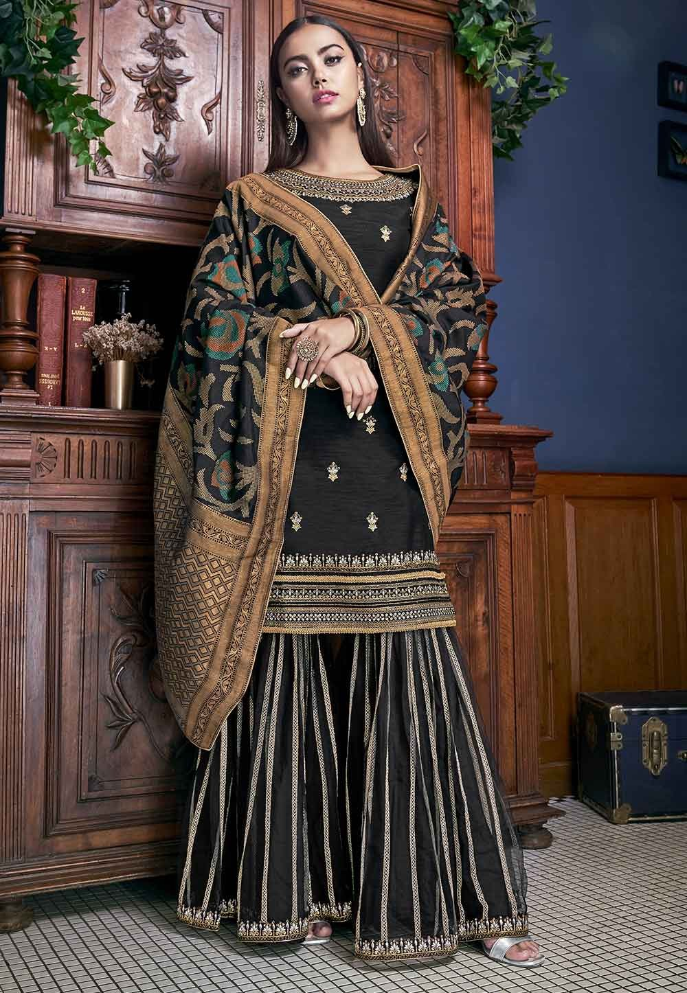Black Colour Art Silk Fabric Women Salwar Suit.