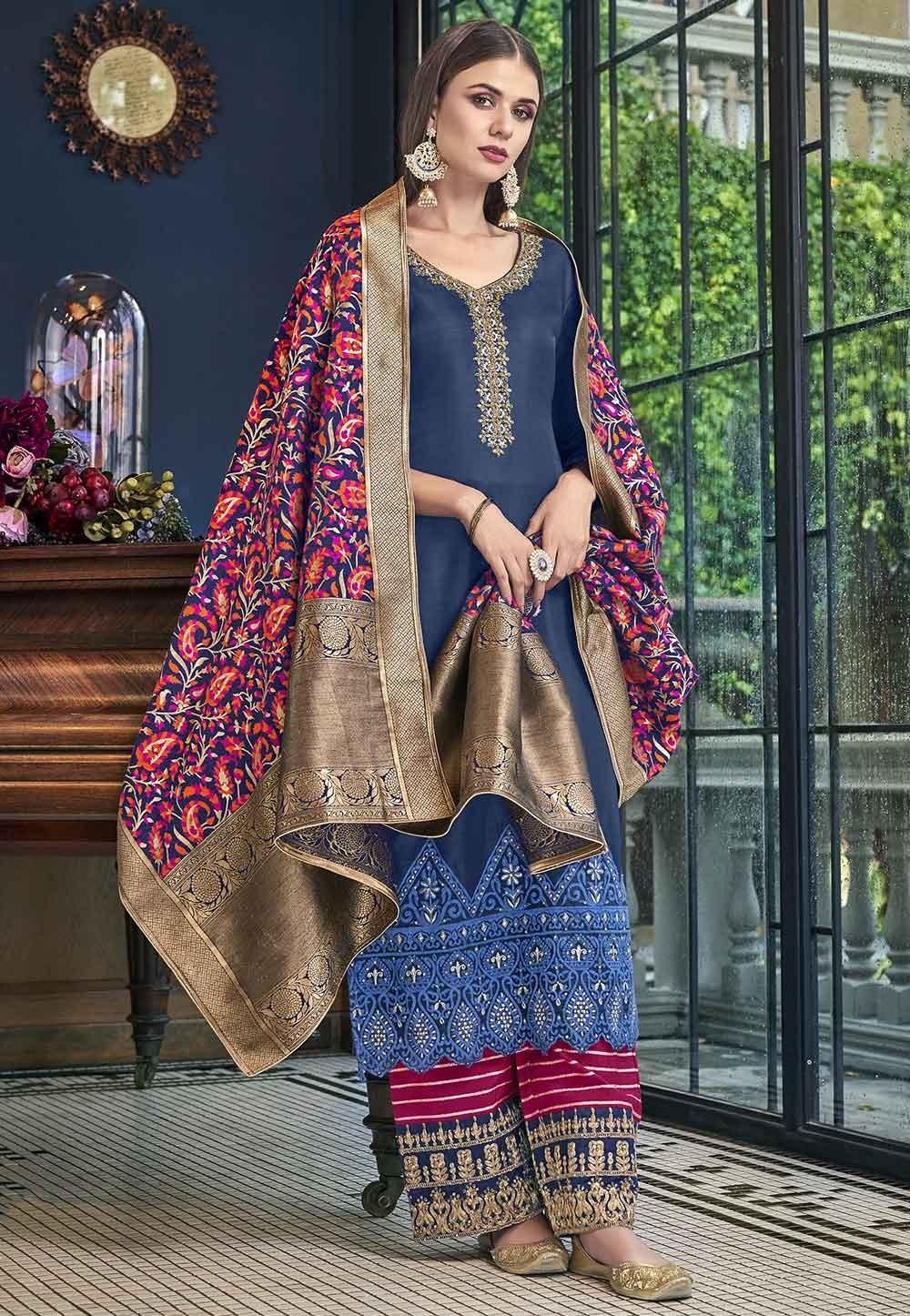 Blue Wedding Salwar Suit.
