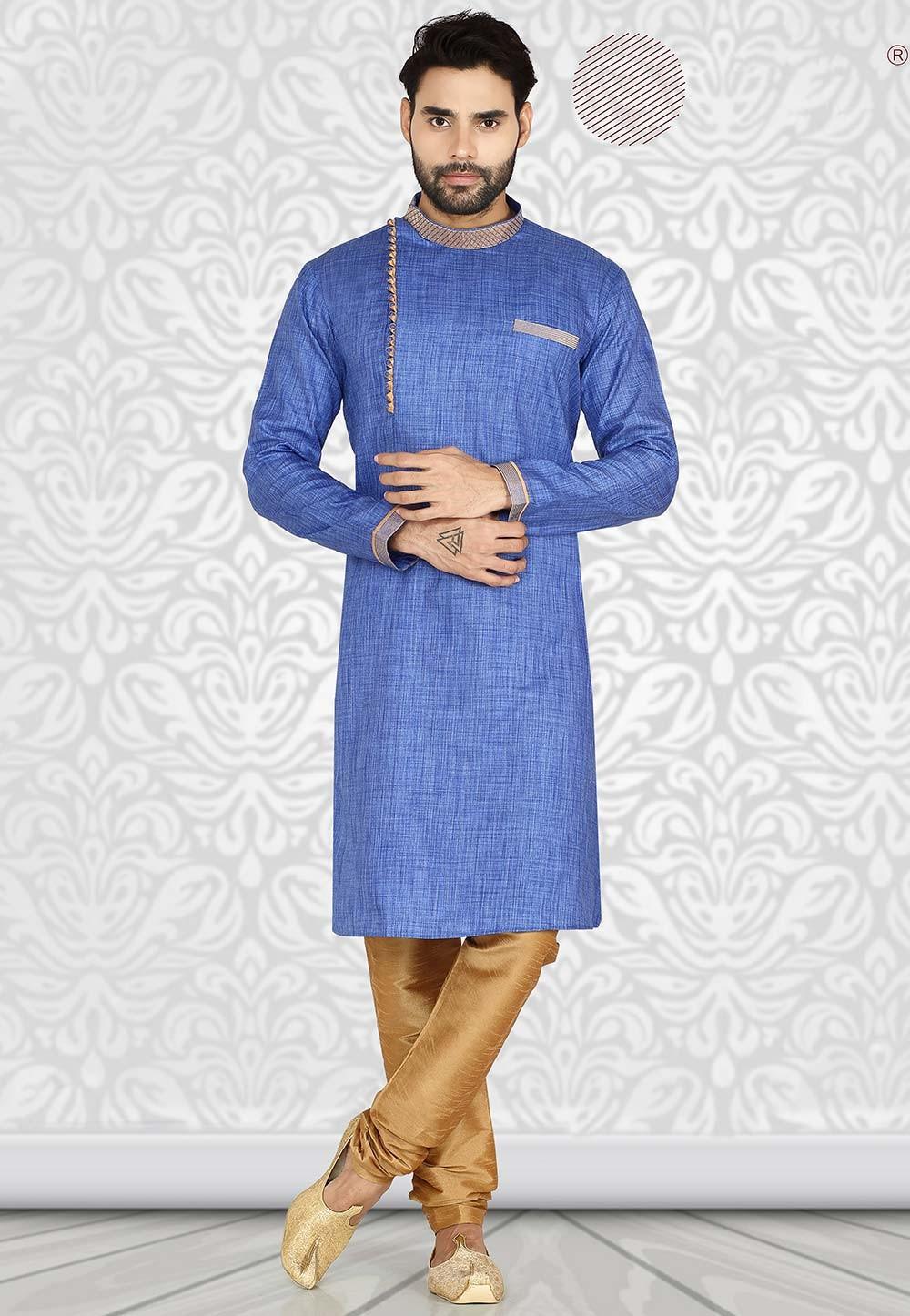 Blue Colour Cotton Readymade Kurta Pajama.