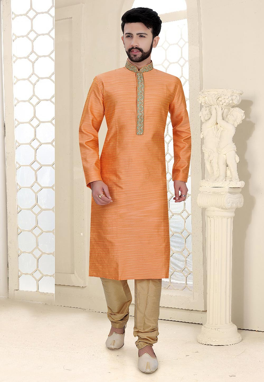Orange Colour Traditional Kurta Pajama.