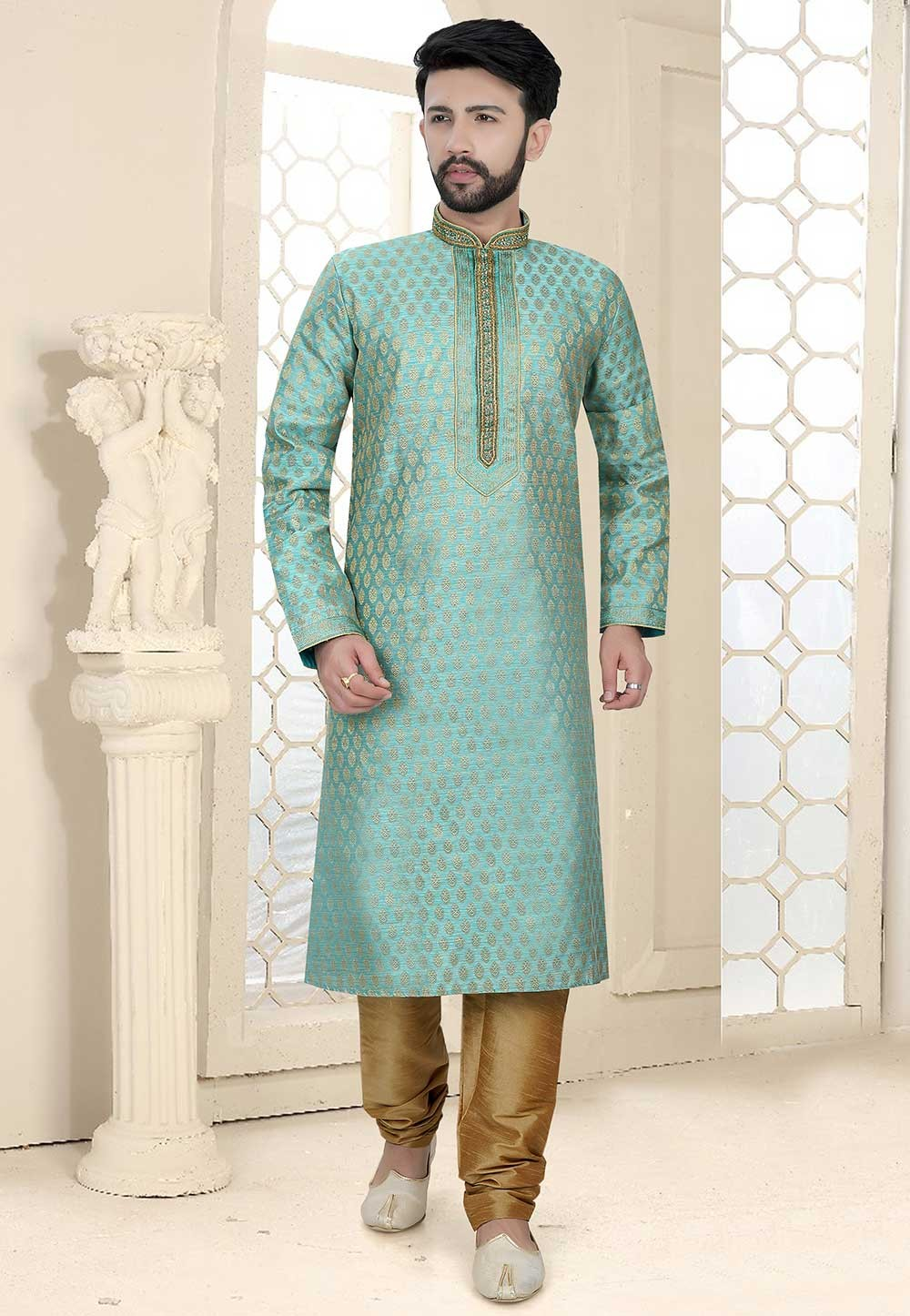 Designer Kurta Pajama in Blue Colour