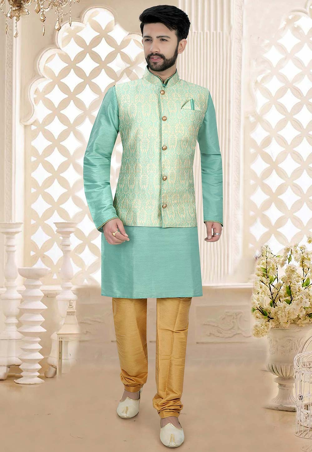 Green Colour Silk Kurta Pajama Jacket.