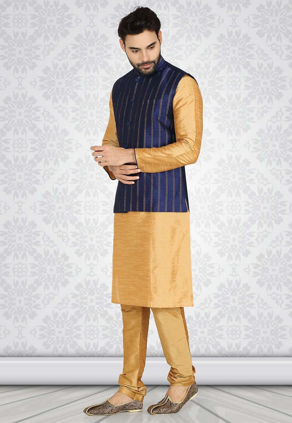 Beige,Blue Colour Silk Party Wear Kurta Pajama For Men.