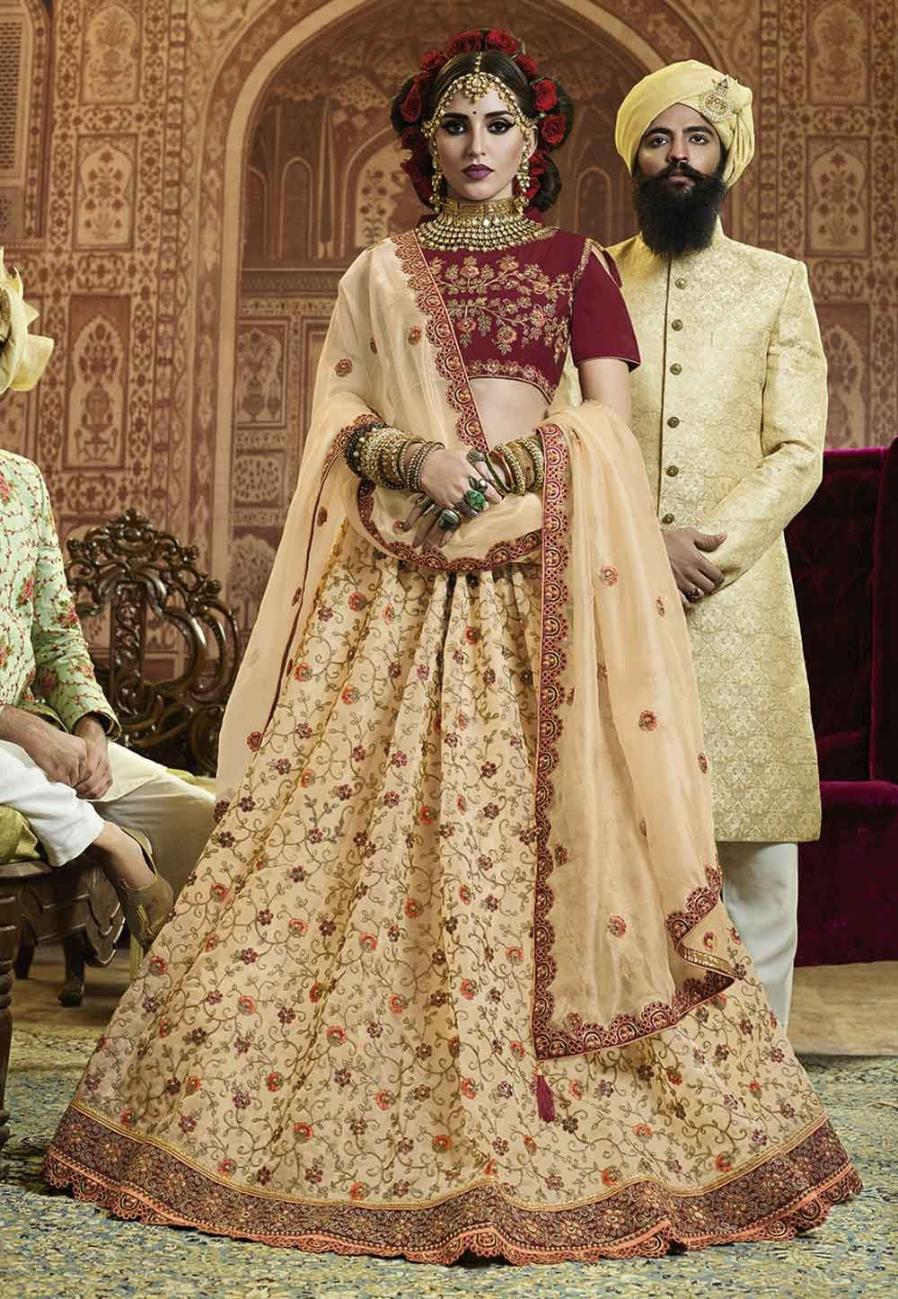 Buy Golden Color Engagement Lehenga choli online