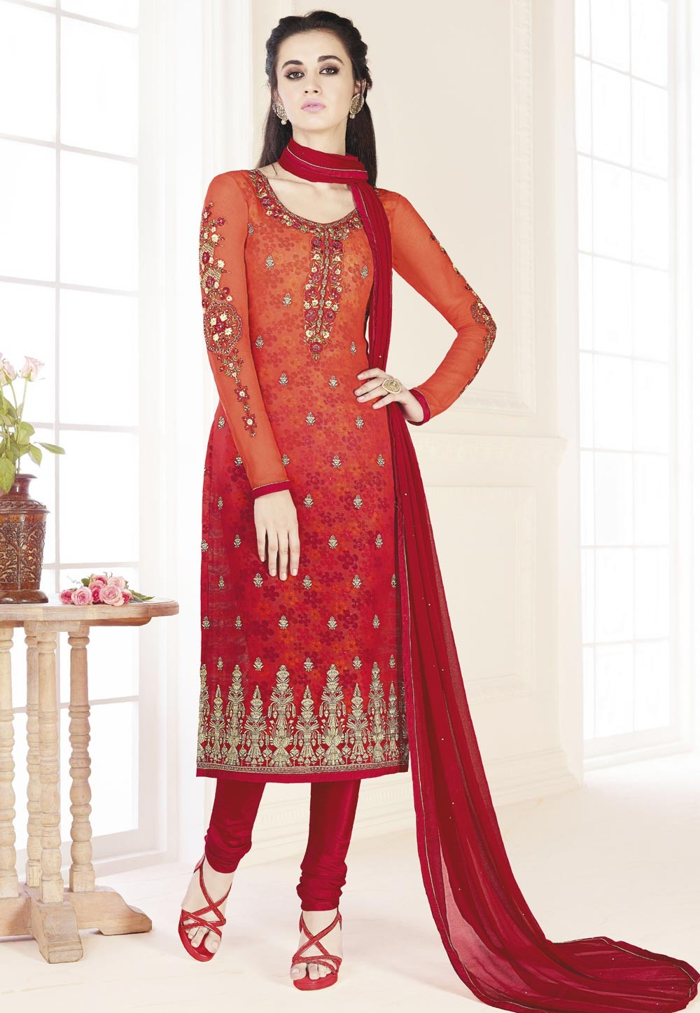 Red,Orange Color Beautiful Salwar Kameez in Embroidery Work
