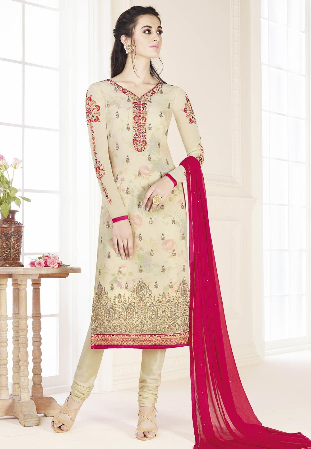 Astounding Salwar Kameez in Cream Color & Georgette Fabric