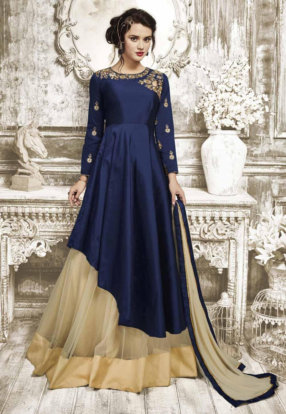 Navy Blue Color Anarkali Salwar Kameez in Silk Fabric