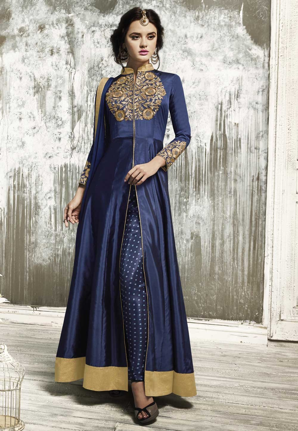 Beautiful Salwar Kameez in Navy Blue Color & Embroidery Work