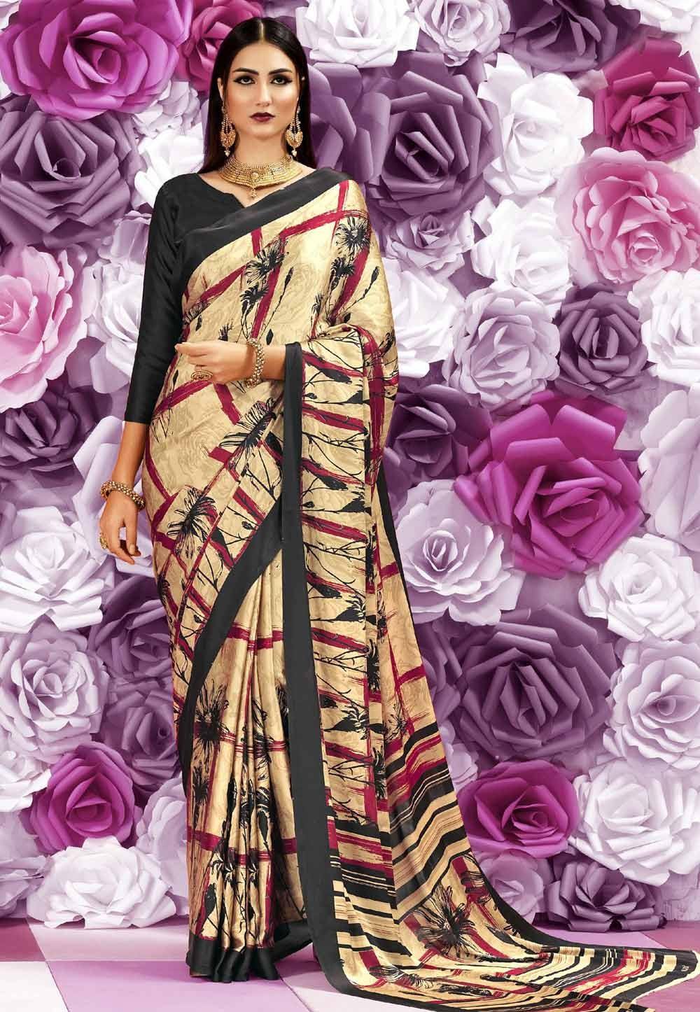 Beige Color Saree With Attractive Printed Pallu