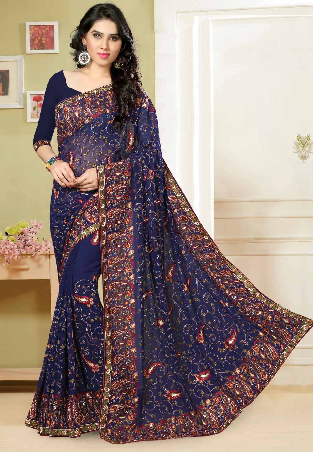 Attractive Navy Blue Color Saree