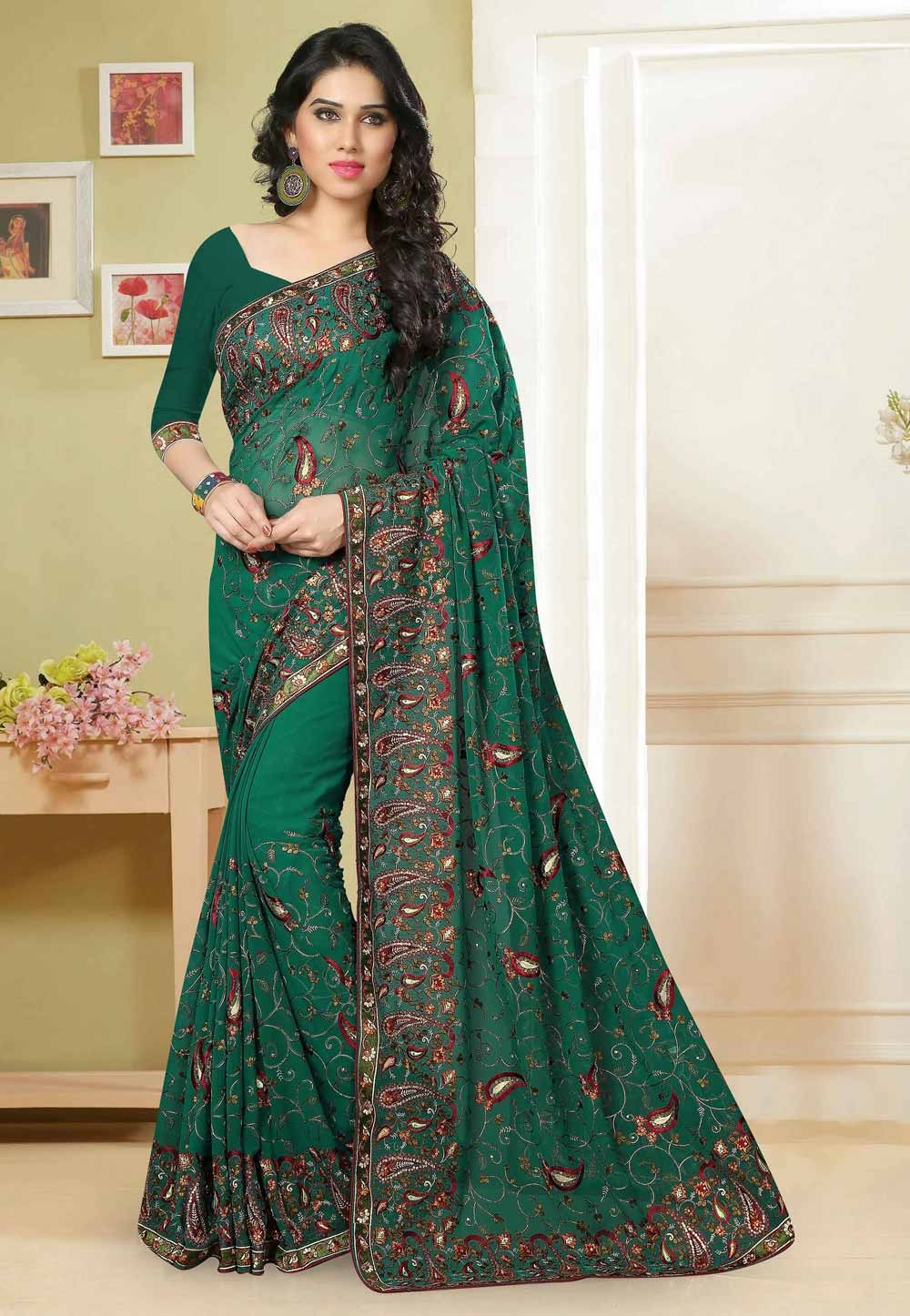 Nice Looking Green Color Traditional Saree