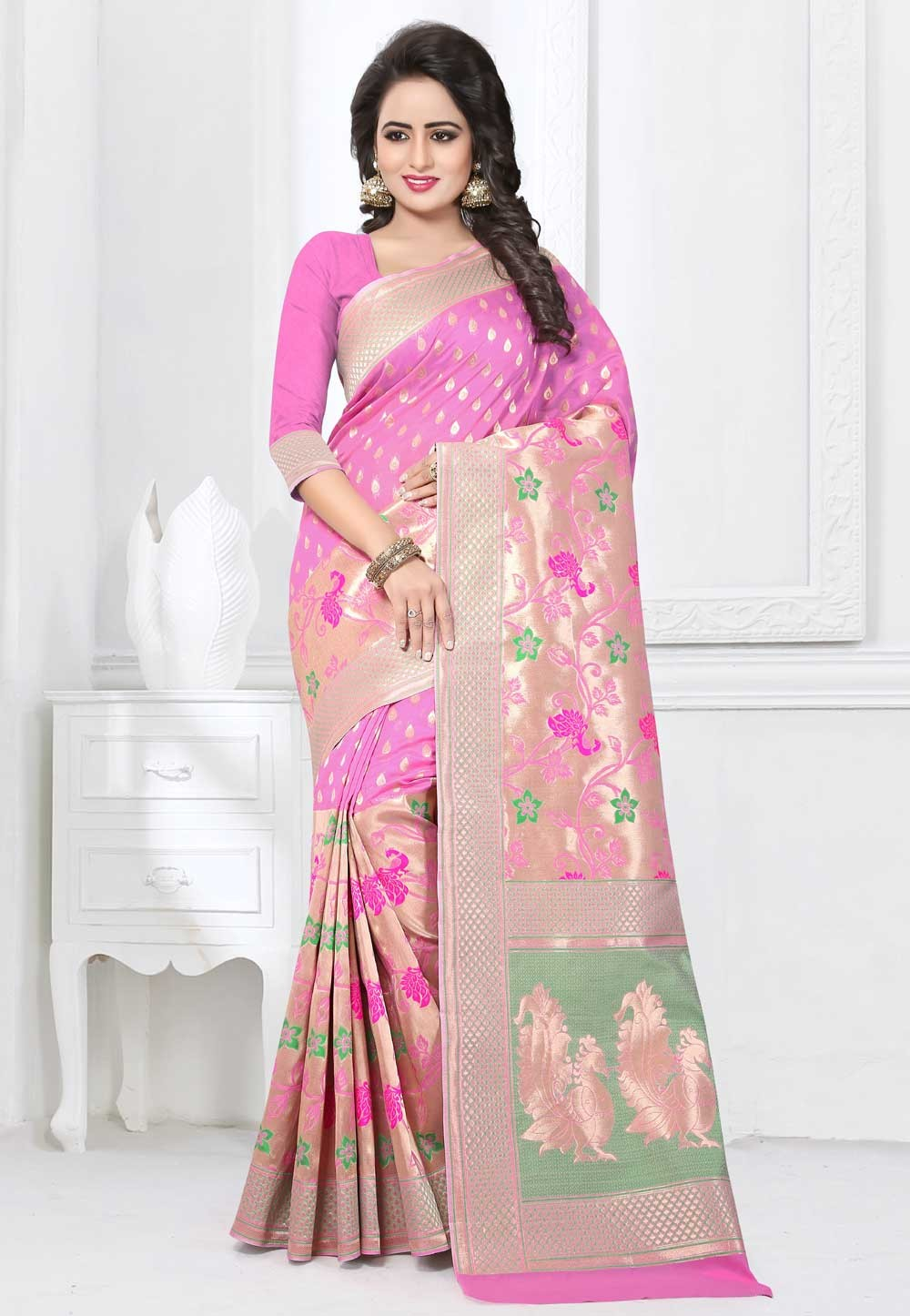 Attractive Looking Light Pink Color Ethnic Saree Womens