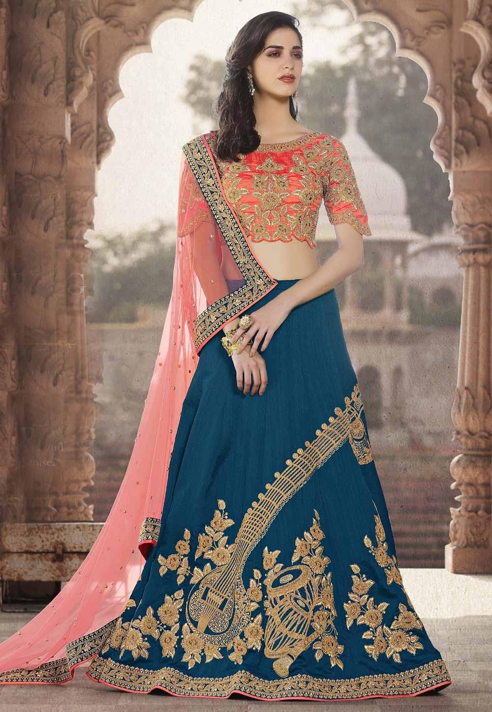 fda7e8d775 Crepe Silk Fabric Blue Color Bridesmaid Lehenga Choli