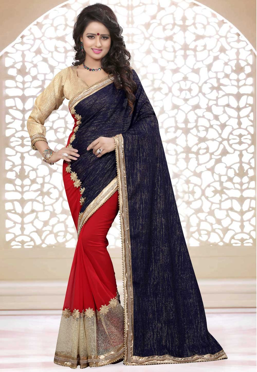 Women's Attractive Looking Blue,Red Color Georgette,Velvet Saree