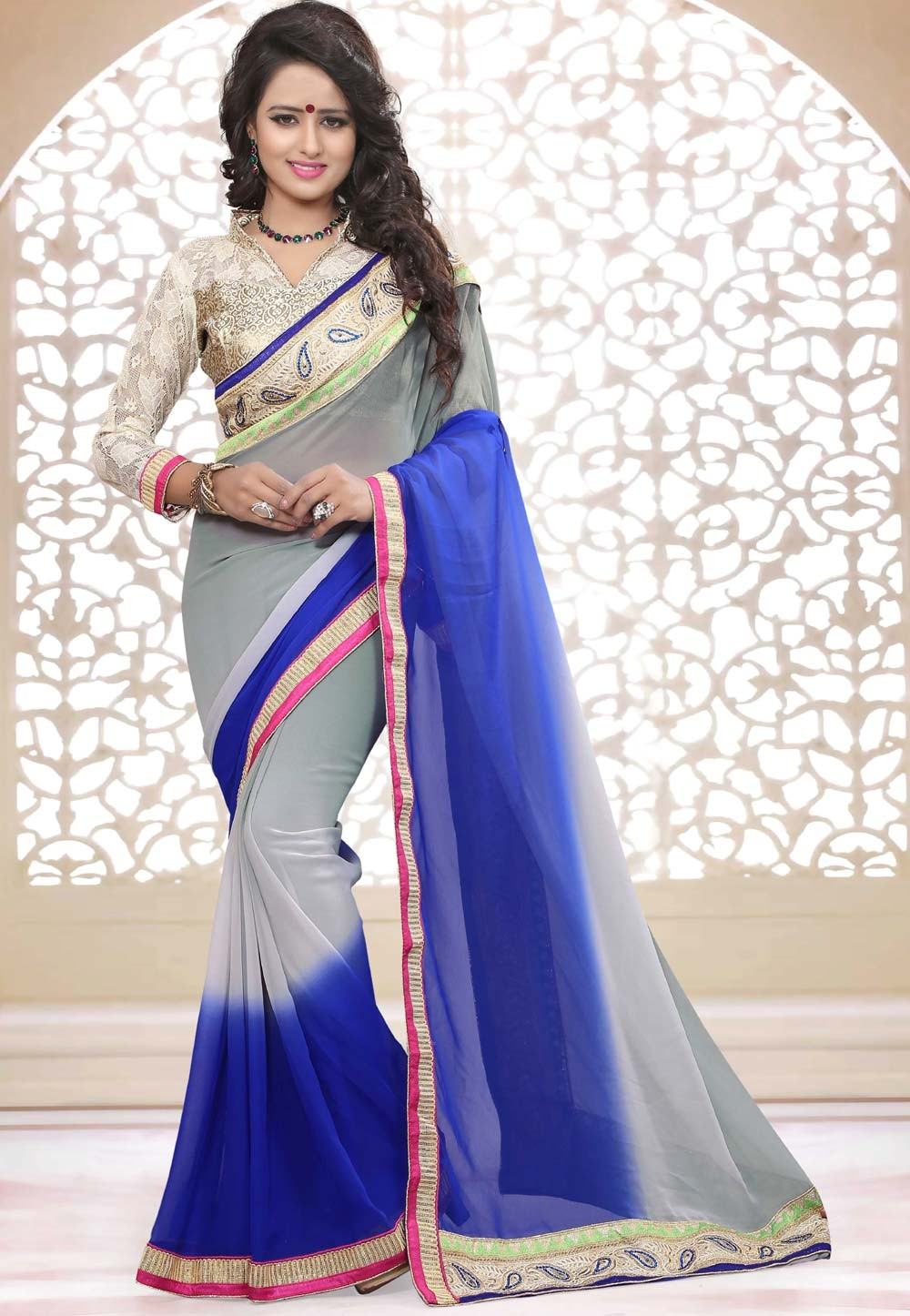 Grey,Blue Color Georgette Saree