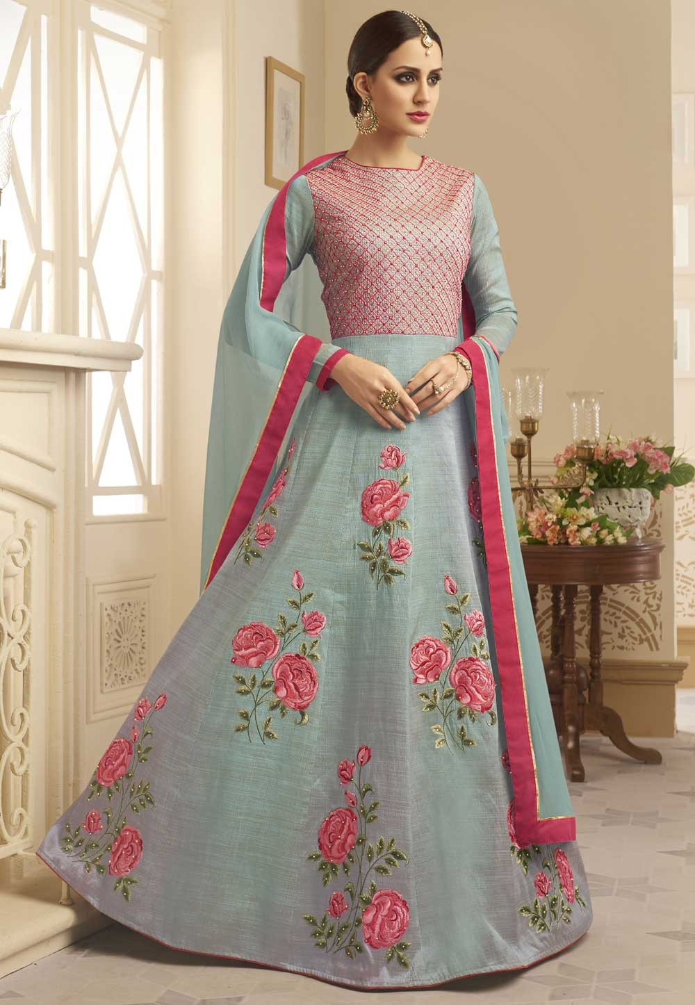 Designer Salwar Kameez Grey,Pink Color