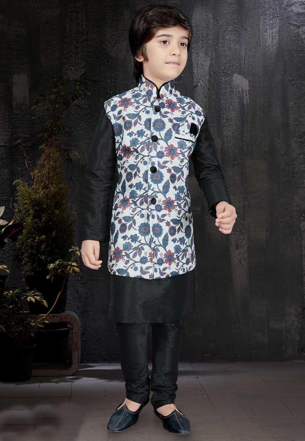 Beautiful Art Silk & Black Color Readymade Kurta Pajama.