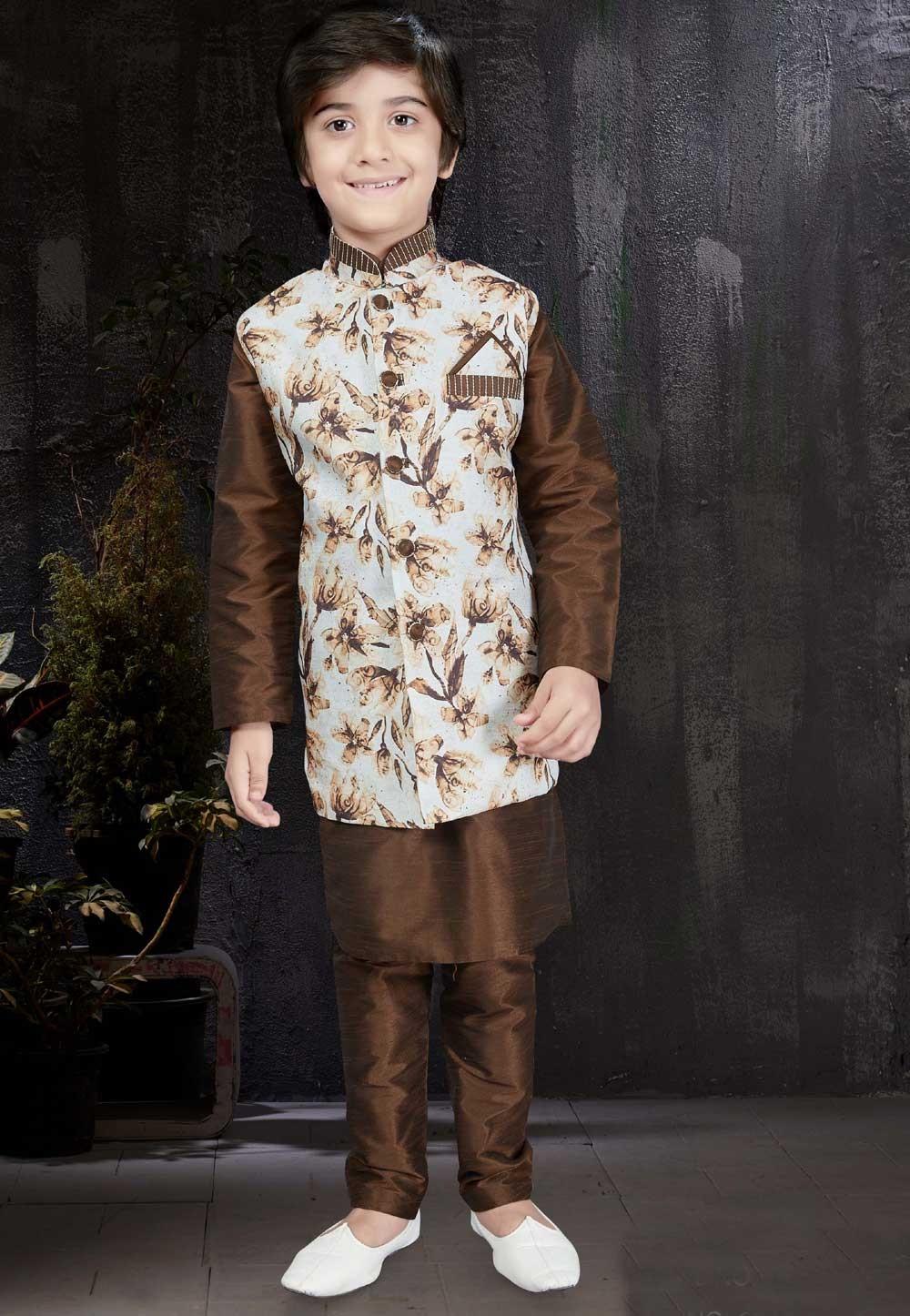 Brown Color & Art Silk Readymade Kurta Pajama