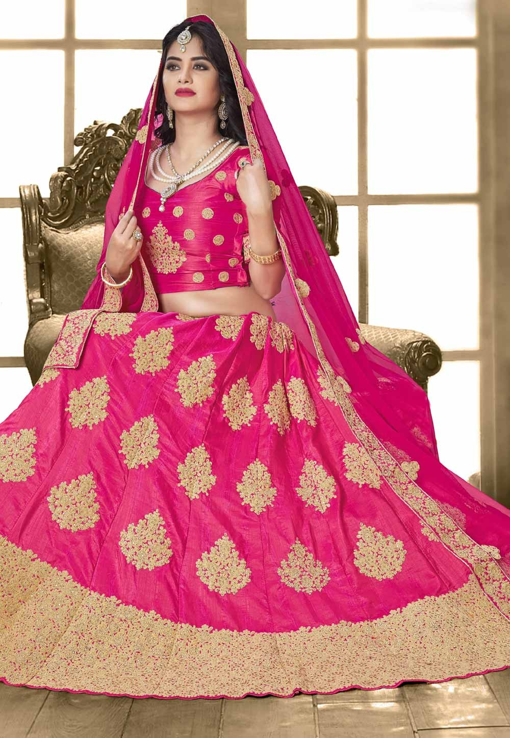 5358d15254 Royal Pink Color Designer Bridal Lehenga Choli