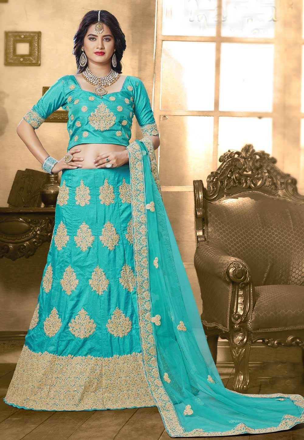 Attractive Lehenga Choli in Turquoise Color