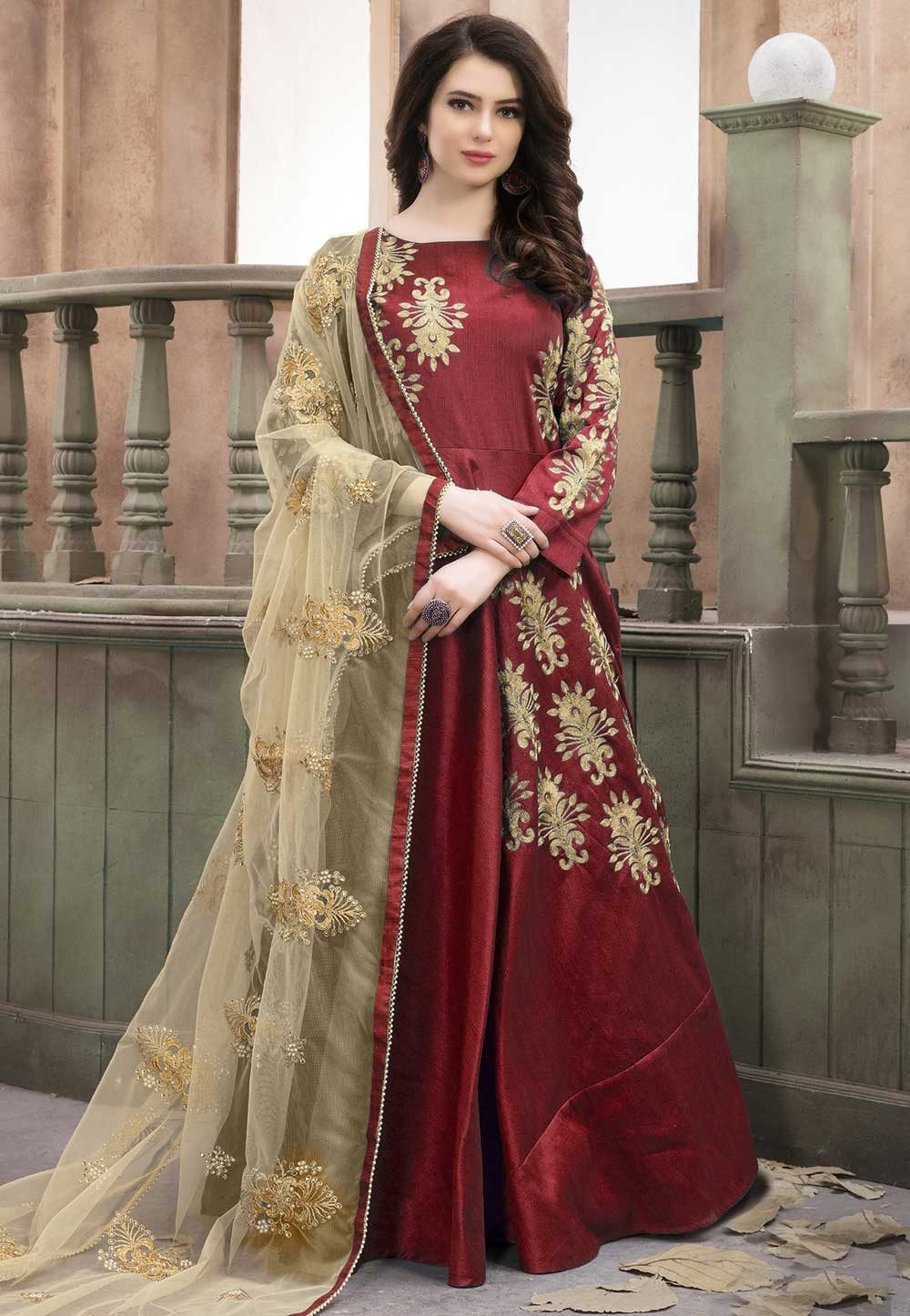 Maroon Color Anarkali Salwar Kameez