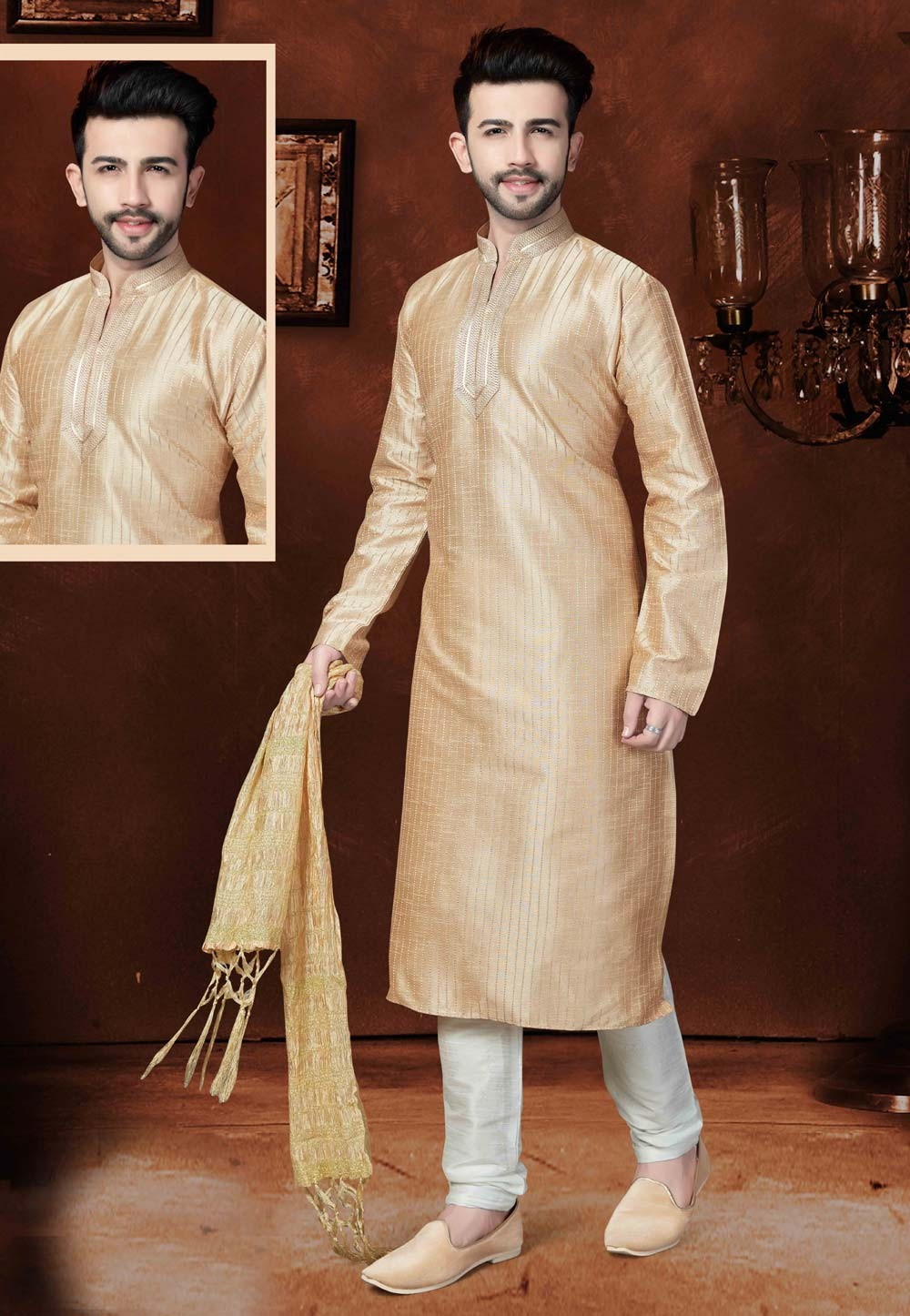 Beige Color Art Silk Fabric Party Wear Kurta Pajama