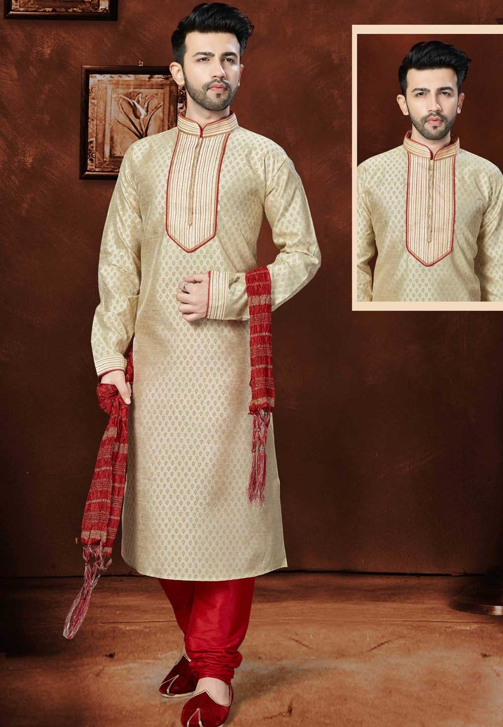 Exquisite Raglan Sleeves Men's Cream Color Silk Readymade Kurta