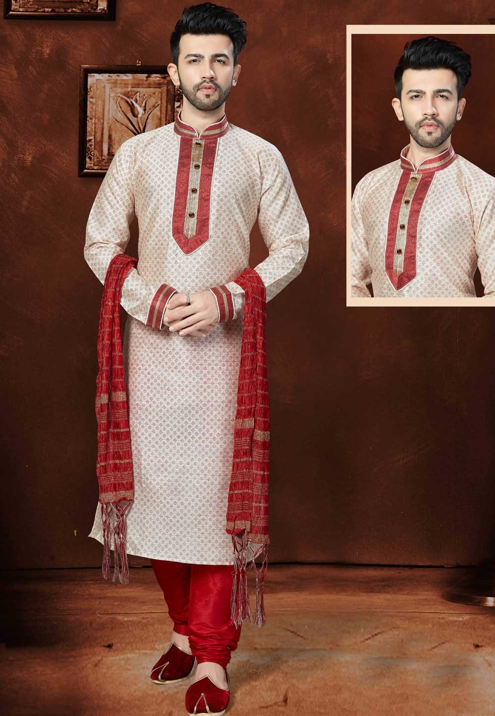 Exquisite Off White Color Silk Readymade Kurta Pajama.