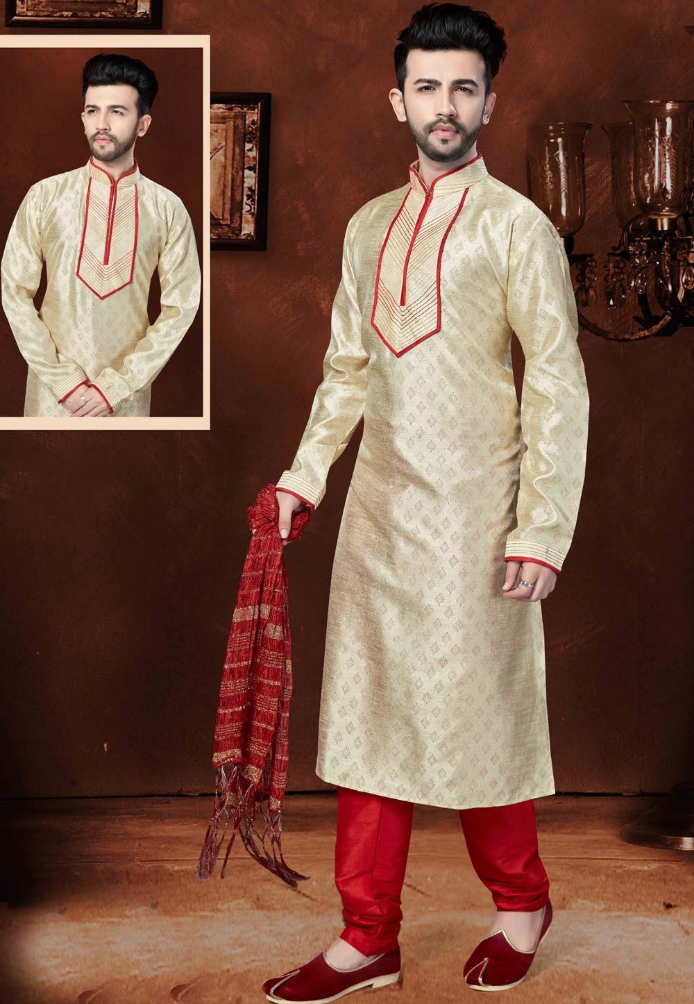 Men's Exquisite Cream Color Silk Kurta Pyjama