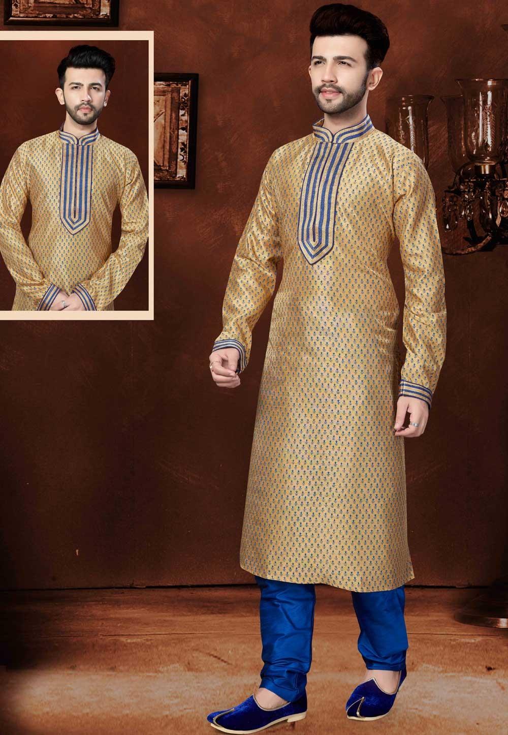Beige Color Designer Kurta Pajama