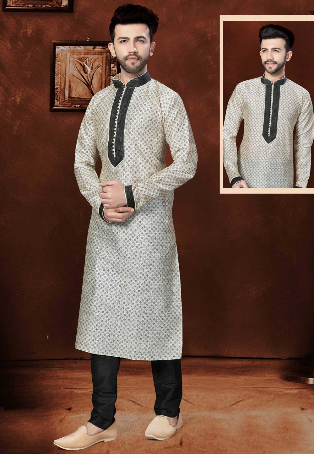 Exquisite Silk Off White Color Men's Readymade Kurta Pajama.