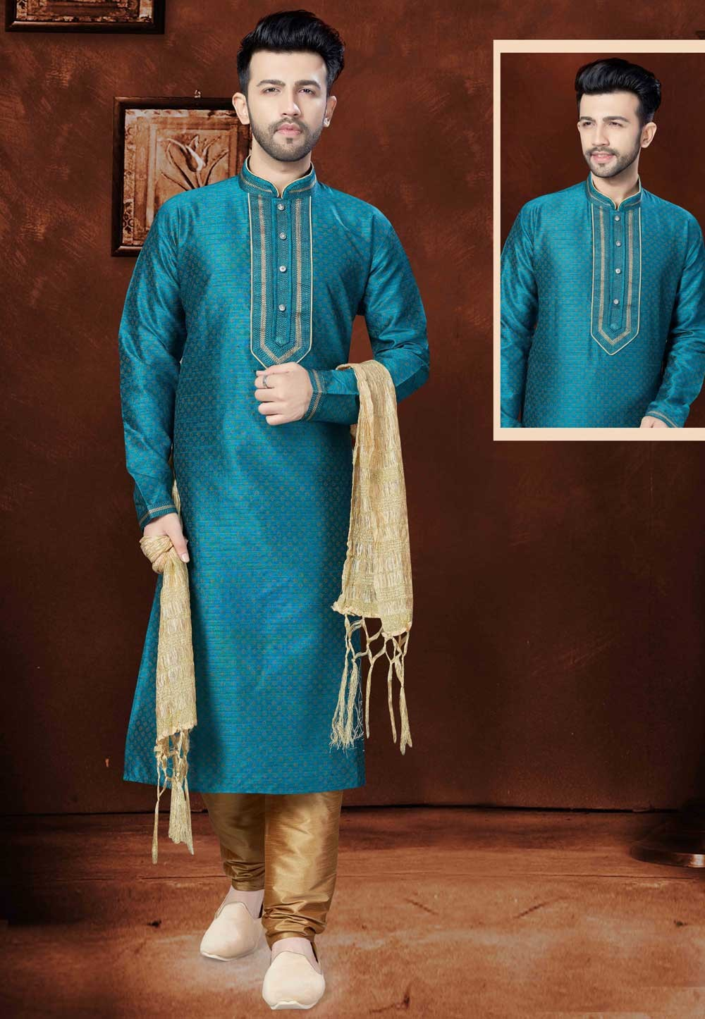 Exquisite Green Color Silk Readymade Kurta Pyjama