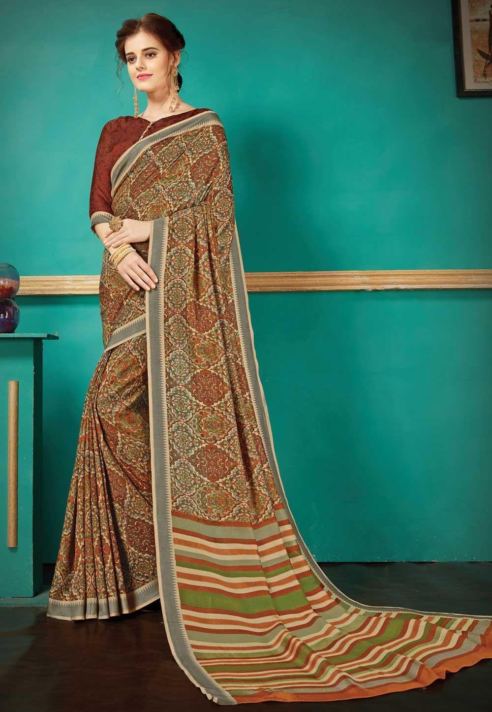 Attractive Looking Ethnic Multi Color Silk Saree