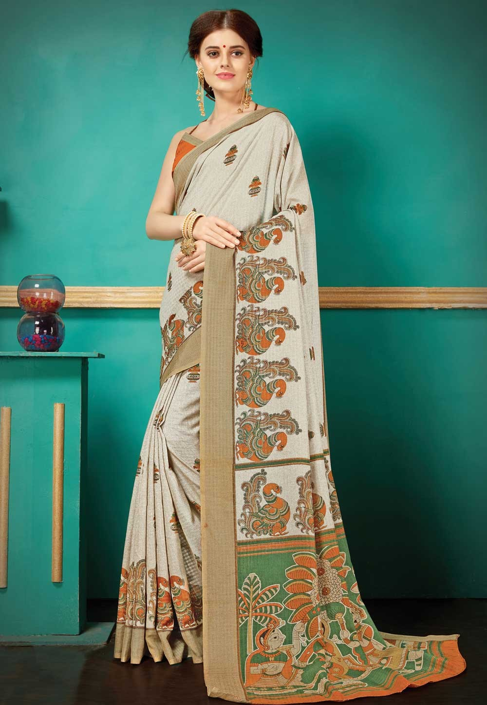 Brown,Beige Color Printed Saree