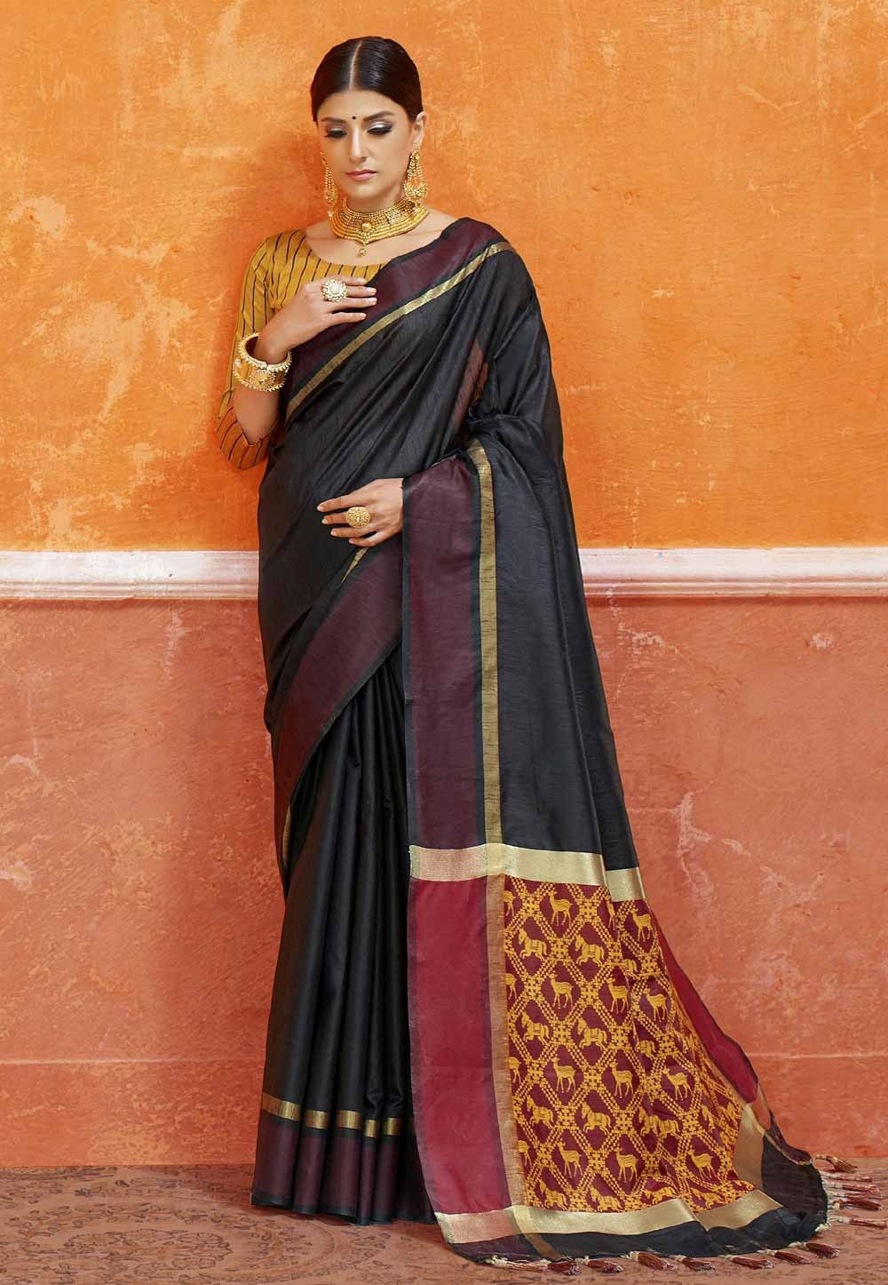 Classic Looking Black Color Silk Saree