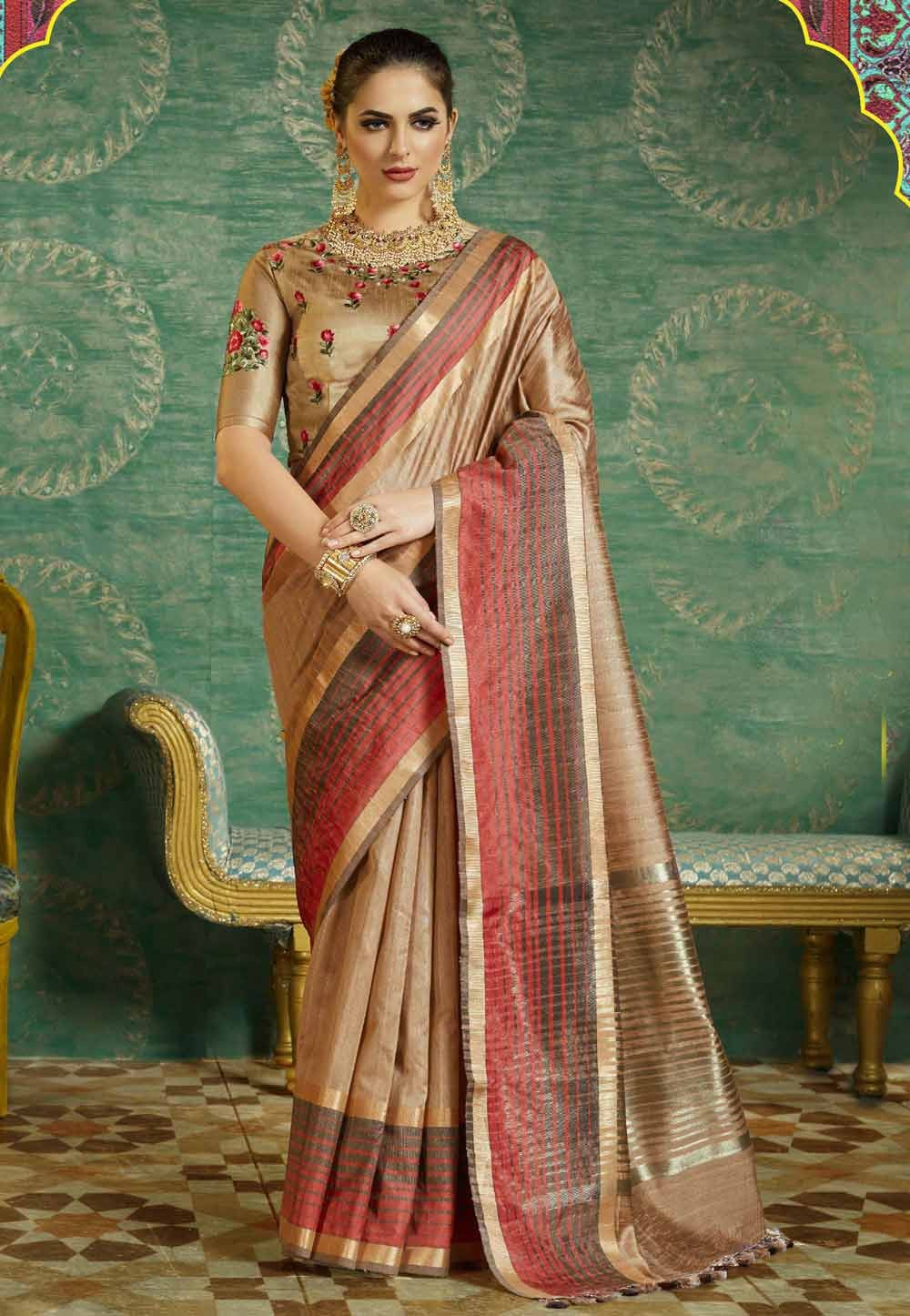 Beautiful Beige Color Silk Saree