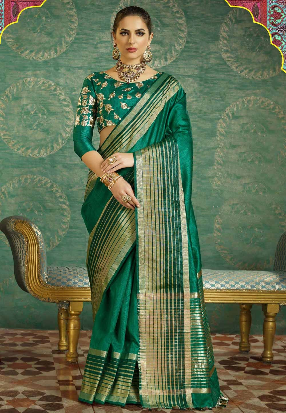 Traditional Look Green Color Silk Saree