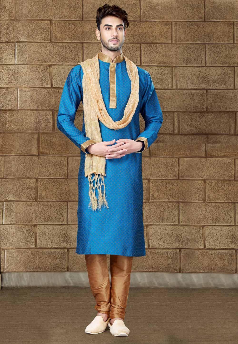 Blue Color Silk Readymade Kurta Pajama.